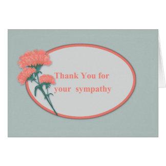 Cartão Obrigados para a simpatia, cravos cor-de-rosa