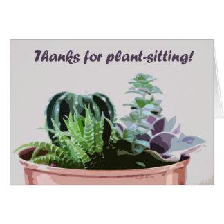 Cartão Obrigados para planta-sentar-se