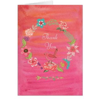 Cartão Obrigados pequenos do pássaro da grinalda floral
