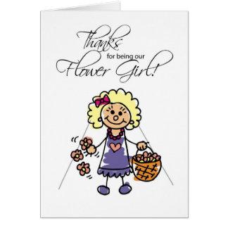 Cartão Obrigados que Wedding o florista, figuras louras