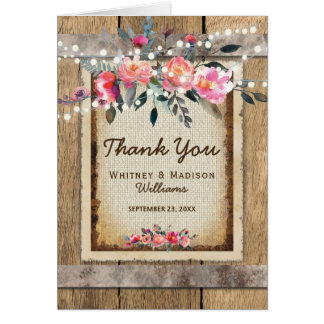 Cartão Obrigados rústicos de serapilheira e de madeira do