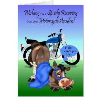 Cartão Obtenha bem, acidente da motocicleta