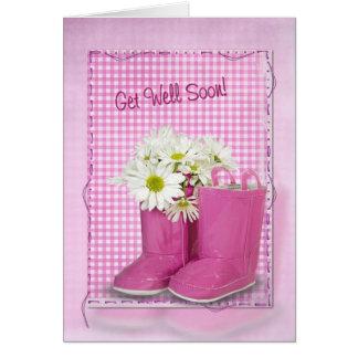 Cartão Obtenha botas e margaridas logo cor-de-rosa boas