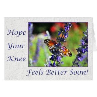 Cartão Obtenha logo a borboleta boa do joelho floral
