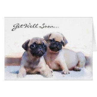 Cartão Obtenha logo a filhotes de cachorro bons do Pug o