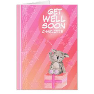 Cartão Obtenha logo menino bom o rosa nomeado de Koala