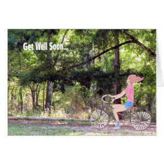 Cartão Obtenha logo o cartão, a menina, a bicicleta & a