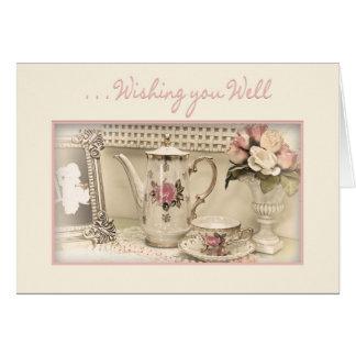 Cartão OBTENHA o POÇO - grupo de chá do vintage