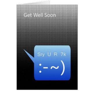 Cartão Obtenha o poço logo, mensagem de texto de SMS