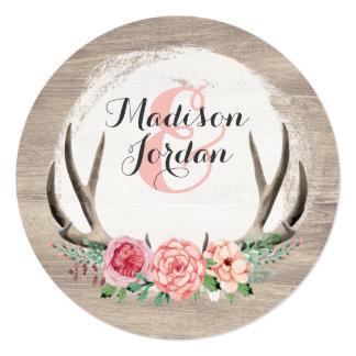 Cartão Ocasional personalizado dos Antlers casamento