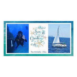 """Cartão Oceano da aguarela dos cumprimentos da """"estação"""