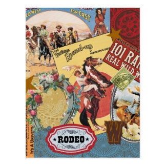 Cartão ocidental da vaqueira do vintage