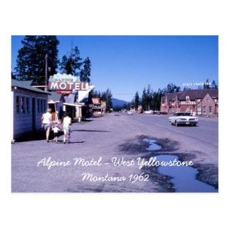 Cartão ocidental de Yellowstone do motel alpino