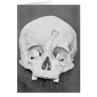 Cartão oculto do Dia das Bruxas do crânio feliz do
