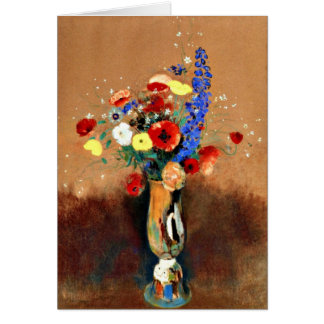Cartão Odilon Redon - buquê dos Wildflowers no vaso