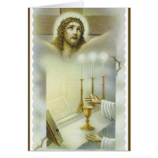 Cartão Oferecimento maciço católico do altar de Jesus