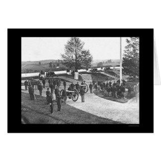 Cartão Oficiais e homens no forte Stevens, C.C. 1865