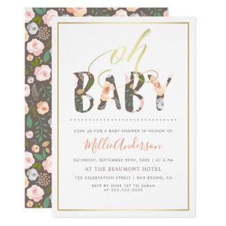 Cartão Oh branco moderno do bebê | & chá de fraldas