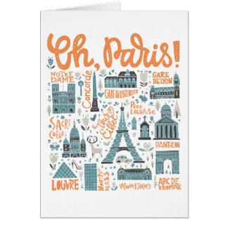 Cartão Oh, Paris! tipografia da cidade de |