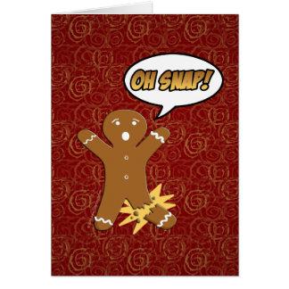 Cartão Oh pressão! Homem de pão-de-espécie engraçado