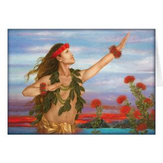 """Cartão """"Ohia e Lehua"""" pelo artista Lori Higgins de Maui."""