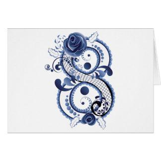 Cartão Oito florais azuis