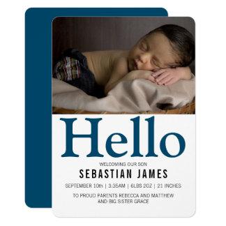 Cartão Olá! azuis bebés novos personalizados