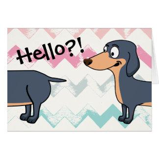 """Cartão Olá! Doxie (4,25"""" x 5,5""""), branco envolve o Inc."""