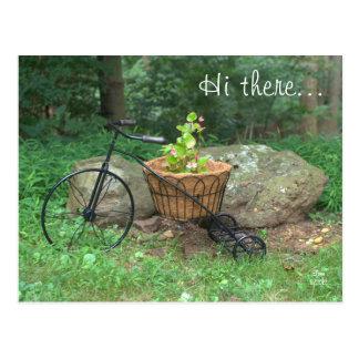Cartão olá! lá. Flores cor-de-rosa da bicicleta na Cartoes Postais
