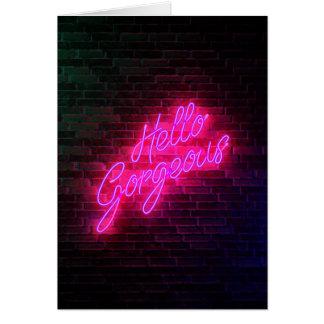 Cartão Olá! lindo - sinal de néon