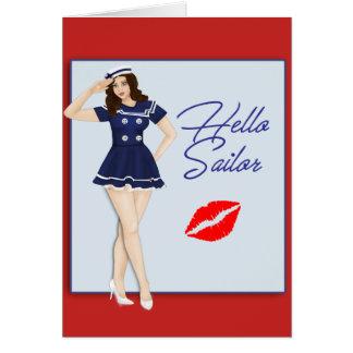 Cartão Olá! menina do Pinup do marinheiro