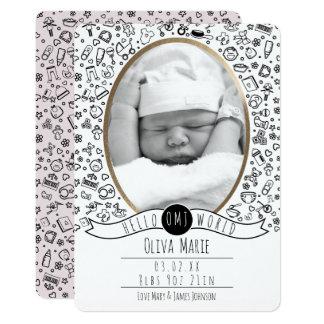 Cartão Olá! mundo, anúncios bonitos do bebê