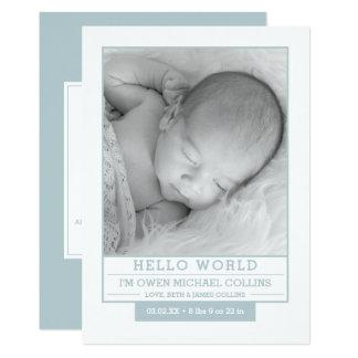 Cartão Olá! mundo, anúncios do nascimento do bebé