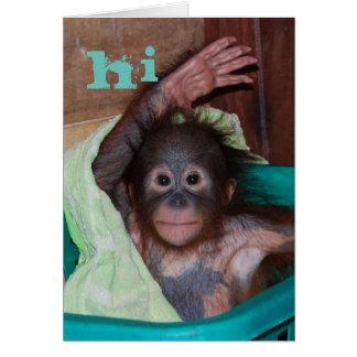 Cartão Olá! orangotango doce do bebê