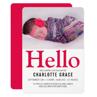 Cartão Olá! rosa brilhante do bebê novo personalizado