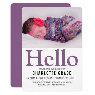 Cartão Olá! roxo novo do bebê personalizado