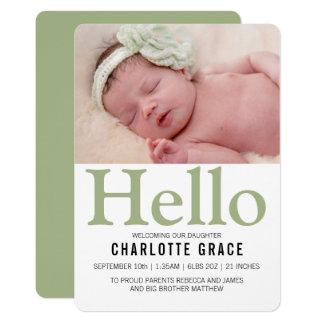 Cartão Olá! verde novo do bebê personalizado