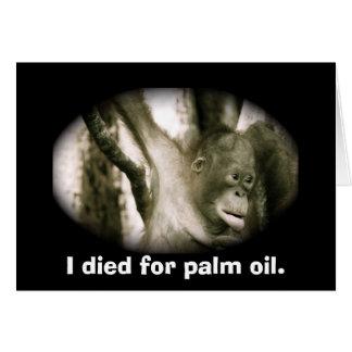 Cartão Óleo de palma de 3Sudeste Asiático da extinção dos