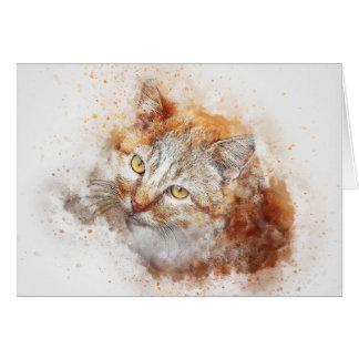 Cartão Olhando acima a aguarela do abstrato | do gatinho