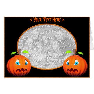 Cartão Olhares fixos da abóbora do Dia das Bruxas (quadro