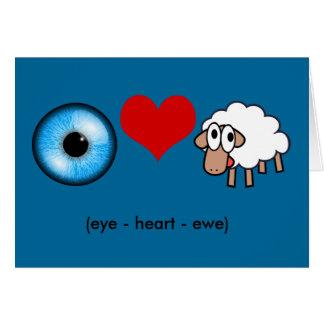 Cartão Olho-Coração-Ovelha (eu te amo!)