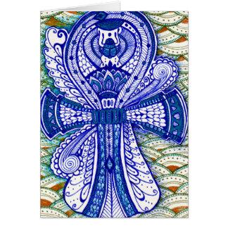 Cartão Olho mau de Ankh do escaravelho egípcio azul dos