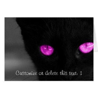Cartão Olhos do roxo do gato preto de BPUR