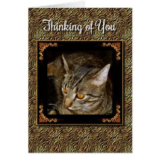 Cartão Olhos dourados que pensam de você