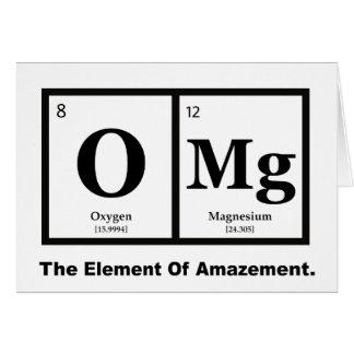 Cartão OMG o elemento da perplexidade, humor da ciência