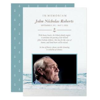 Cartão Ondas de oceano náuticas na foto de Memoriam
