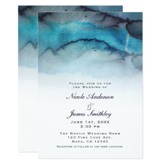 Cartão Ondas litorais do abstrato da praia da aguarela