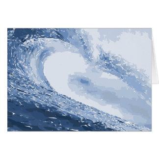 Cartão Ondinha pintada do oceano da água da onda