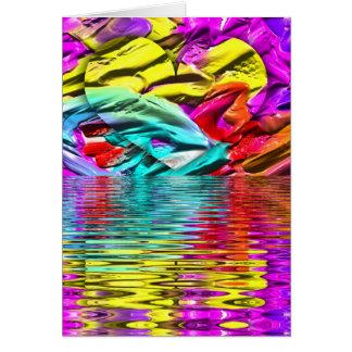 Cartão Ondinhas florescentes legal da água do abstrato do