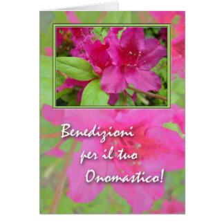 Cartão Onomastico, dia conhecido no italiano, azáleas